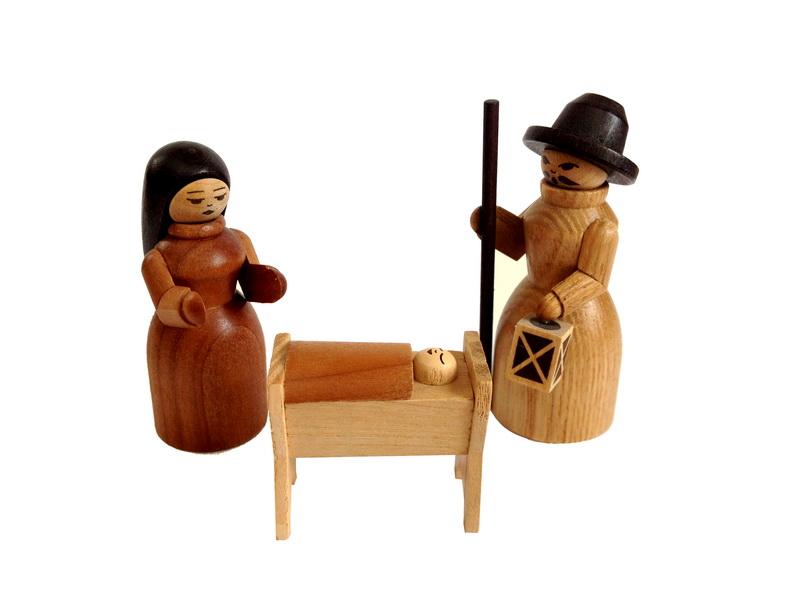 Heilige Familie, 3 - teilig, 6 cm, Spielwarenmacher Günther Seiffen/ Erzgebirge