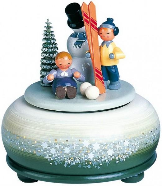 Spieluhr & Spieldose Winterfreuden, 13 cm, Melodie: Leise rieselt der Schnee...18 stimmiges, mechanisches Spielwerk, KWO Kunstgewerbe-Werkstätten …