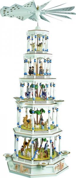 Weihnachtspyramide Christi Geburt, 5 - stöckig, Spielwerk, Spielwerk mit Melodie: Stille Nacht, 123 cm hoch, Richard Glässer GmbH Seiffen/ Erzgebirge