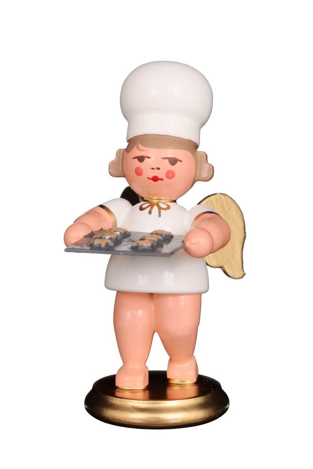 Weihnachtsengel - Bäckerengel, Engel mit Kuchenblech, 8 cm von Christian Ulbricht GmbH & Co KG Seiffen/ Erzgebirge