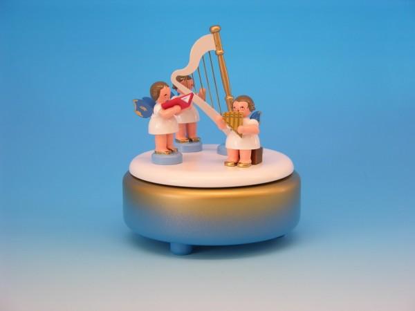 Spieluhr & Spieldose blau/weiß/golden mit 3 Weihnachtsengeln und einer Harfe, blaue Flügel, 13,0 x 13,0 x 14,0 cm, Frieder & André Uhlig …