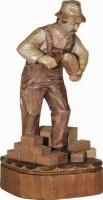 Vorschau: Maurer, gebeizt, geschnitzt, 25 cm