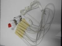 Vorschau: Bausatz für 7er Schwibbogen, 7 Spitzkerzen 34 Volt, 1 Anschlußleitung mit Schalter, 1 Listerklemme, 7 Kerzenhülsen komplett montiert mit 26 cm langen …