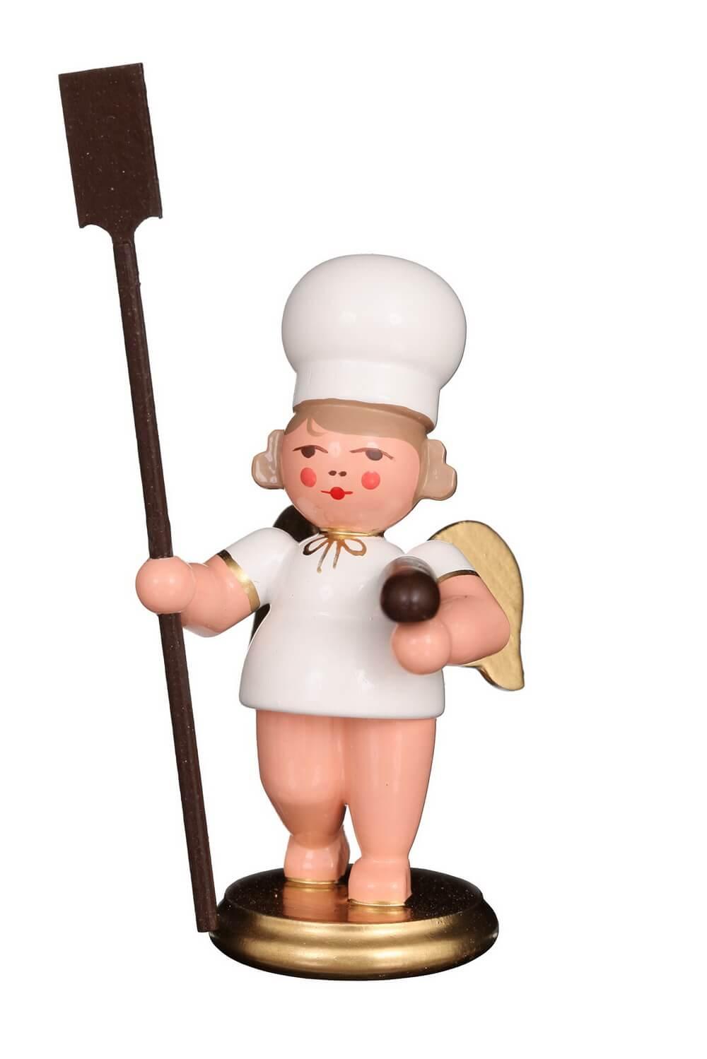 Weihnachtsengel - Bäckerengel mit Brotschieber, 8 cm von Christian Ulbricht GmbH & Co KG Seiffen/ Erzgebirge