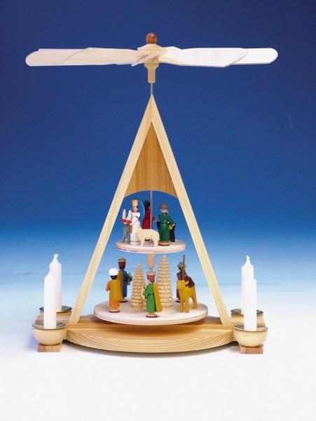 Weihnachtspyramide mit Geburt, bunt, 2 - stöckig von Knuth Neuber