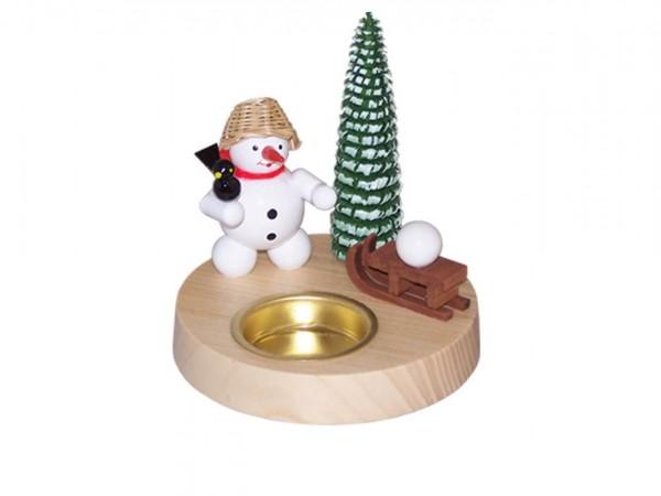 Teelichthalter Schneemann mit Schlitten, farbig, 10 cm von Volker Zenker aus Seiffen