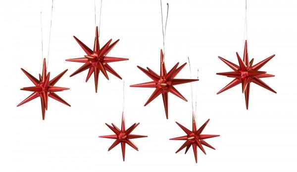 Christbaumschmuck aus Holz, Weihnachtssterne rot-metallik, 6-teilig hergestellt von Albin Preißler_Bild1