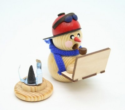 Räuchermann Schneemann Bloggi mit Laptop, natur, 8 cm, Gerd Hofmann Seiffen/ Erzgebirge