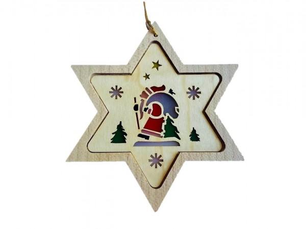 Christbaumschmuck Stern mit Diaphanbild Weihnachtsmann_Bild1