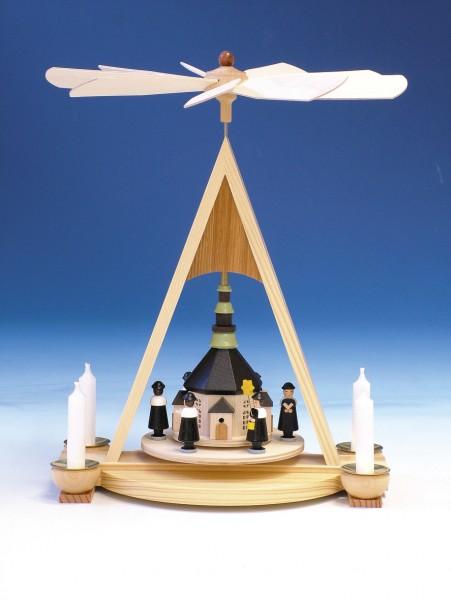 Weihnachtspyramide mit Seiffener Kirche und Kurrende, 35 cm, Knuth Neuber Seiffen/ Erzgebirge