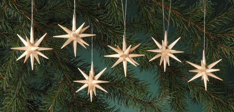 Baumbehang & Christbaumschmuck aus Holz, natur - kleine Weihnachtssterne, 6-teilig, 7 cm von Albin Preißler Seiffen/ Erzgebirge