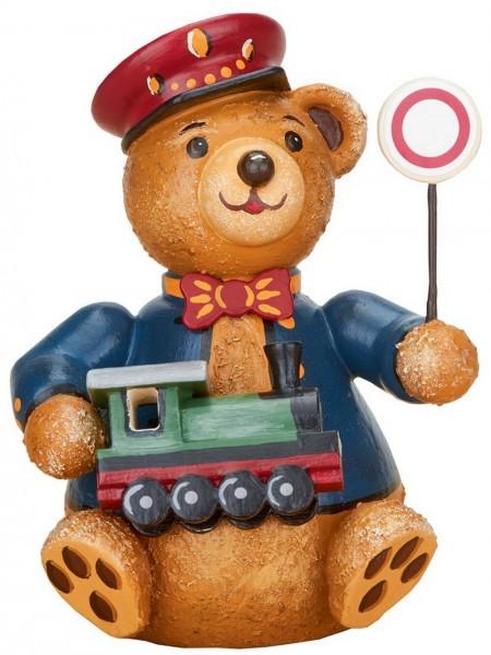Teddy Eisenbahner aus Holz aus der Serie Hubiduu Teddy von Hubrig