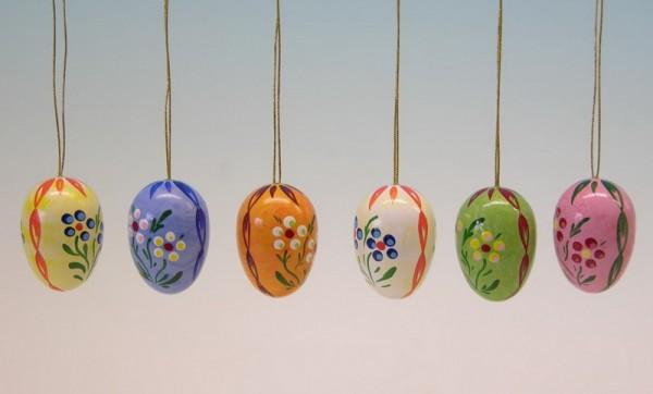 Ostereier mit Punkten und Blumen, 6 Punkte, handbemalt, 6 verschiedene Farben im Satz, 3,5 cm, Frieder & André Uhlig Seiffen/ Erzgebirge