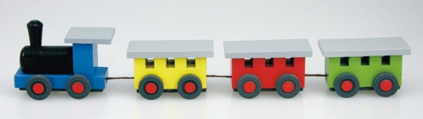 Mini - Holzeisenbahn bunt von Stephan Kaden holz.kunst Seiffen/Erzgebirge. Die blaue Lok gibt den Antrieb und transportiert den gelben, roten und grünen Wagon …