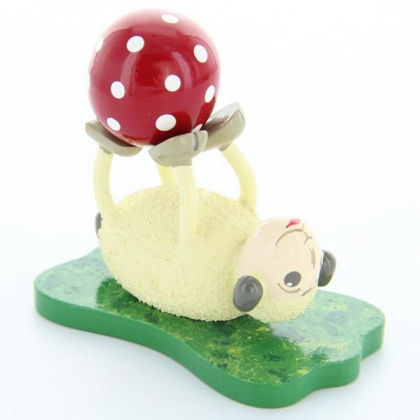 Schaf Rolli, liegend mit Ball, 6,5 cm, Frieder & André Uhlig Seiffen/ Erzgebirge