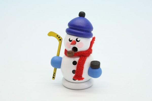 Räuchermann Hockeyspieler mit Mütze, weiß, 8 cm, Gerd Hofmann Seiffen/ Erzgebirge