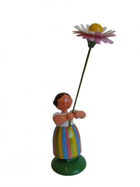 Blumenkinder - Wiesenblumenkind Mädchen mit Gänseblume, 11 cm hoch von WEHA-Kunst Dippoldiswalde/ Erzgebirge