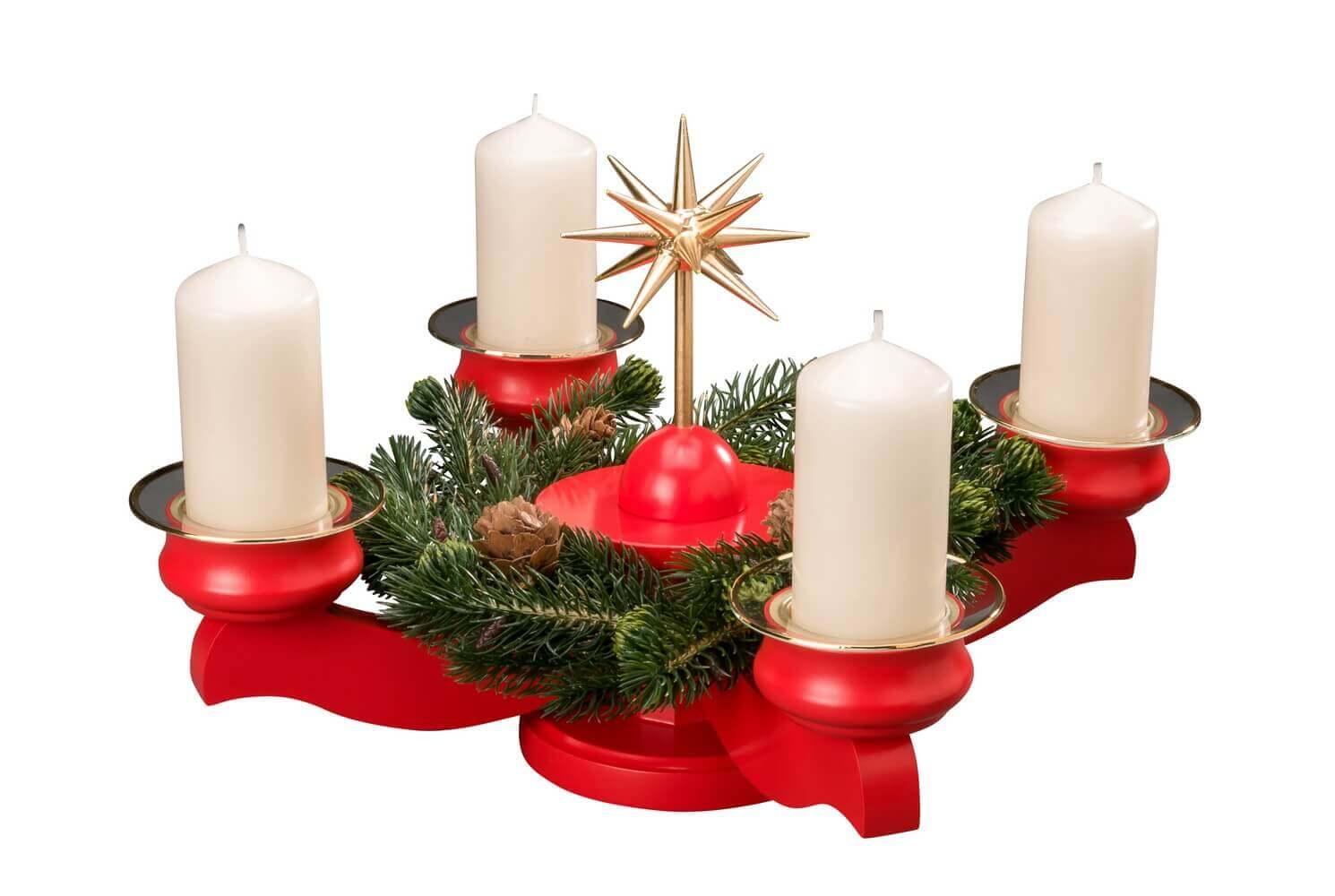 Albin Preißler Adventsleuchter mit Weihnachtsstern und Tannenkranz, rot