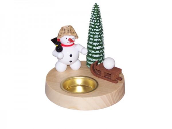 Weihnachtskerzenhalter Schneemann mit Schlitten für Teelicht, 10 cm, Volker Zenker Seiffen/ Erzgebirge
