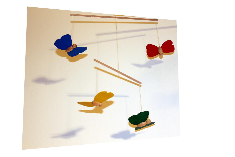 Mobile Schmetterlinge, 5 - teilig, 9 x 7 cm von Erzgebirgische Holzspielwaren Ebert GmbH Olbernhau/ Erzgebirge