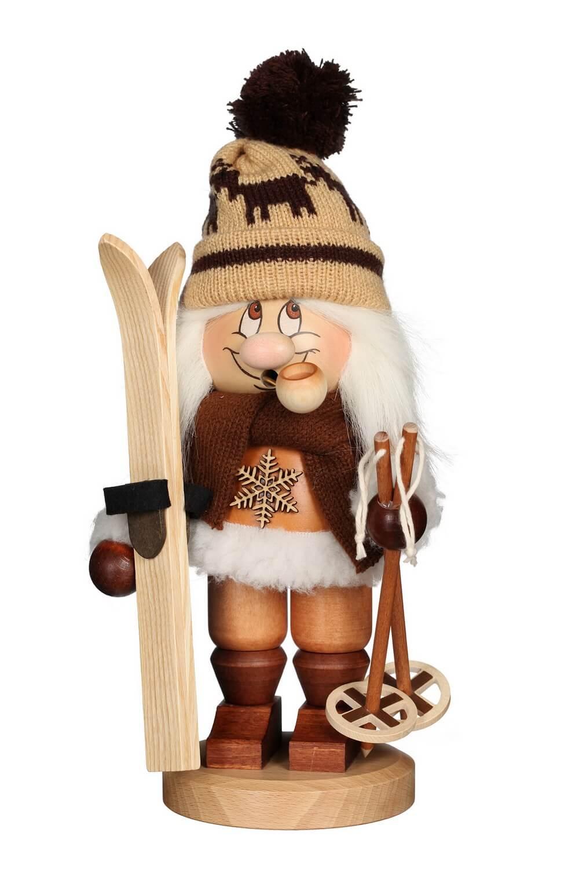 Räuchermännchen Wichtel Skifahrer mit der typischen Knubbelnase und seinem freundlichen Gesicht von Christian Ulbricht GmbH & Co KG Seiffen/ Erzgebirge …