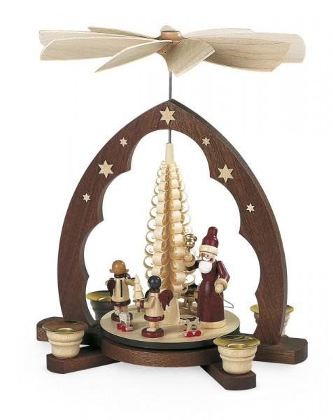 Weihnachtspyramide Bescherung Spitzbogen, natur, 24 x 16 x 30 cm, Müller GmbH Kleinkunst aus dem Erzgebirge