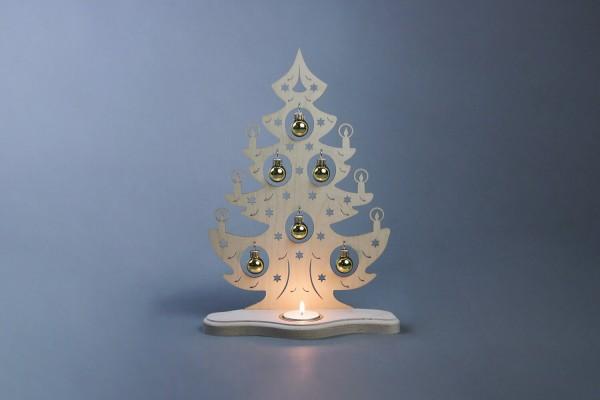 Teelichthalter Weihnachtsbaum mit goldenen Kugeln, 21 x 30 x 8 cm von Weigla - Günter Gläser Deutschneudorf/ Erzgebirge Der Teelichthalter Weihnachtsbaum mit …