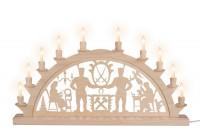 Vorschau: Schwibbogen mit Schwarzenberger Motiv elektrisch beleuchtet mit 10 Kleinschaftkerzen von Nestler-Seiffen_Bild1