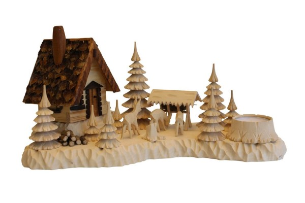 Räucherhaus - Räuchermännchen Wildhüterhütte mit Rehen von A. Lahl_Bild1