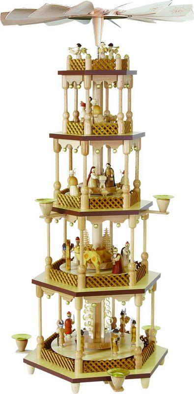 Weihnachtspyramide Christi Geburt, 4 - stöckig, 70 cm hoch, Richard Glässer GmbH Seiffen/ Erzgebirge