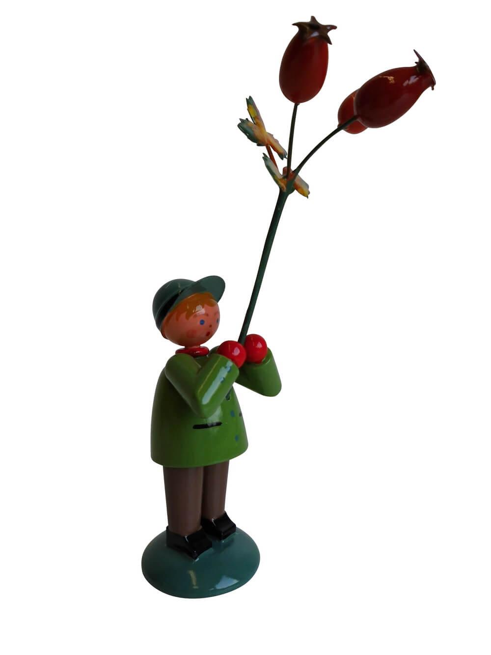 Blumenkinder - Blumenkind Junge mit Hagebutte, handbemalt, 12 cm von WEHA-Kunst Dippoldiswalde/ Erzgebirge