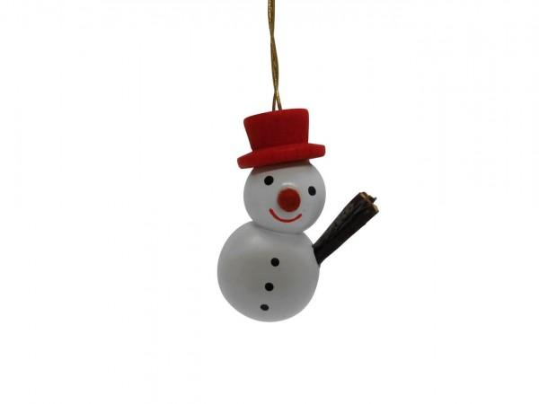 Schneemann mit rotem Hut, 4 cm von Nestler-Seiffen