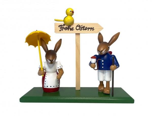 Hasenpaar von Nestler-Seiffen mit Ostergruß - Frohe Ostern, 19 cm_Bild1