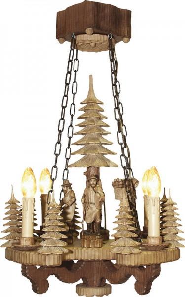 Lampe, geschnitzt, gebeizt, 50 cm