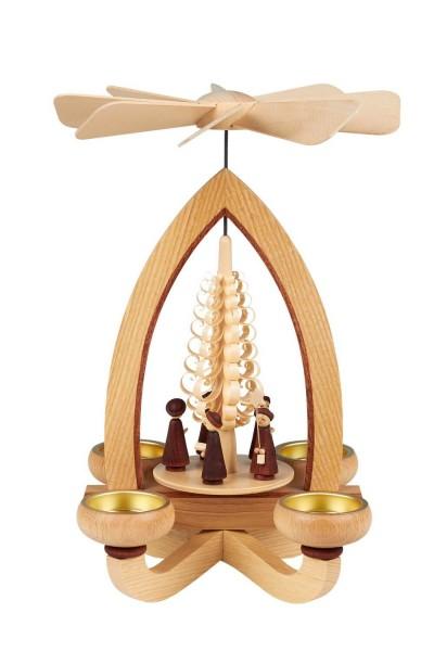 Teelichtpyramide mit Kurrende, 28 cm hergestellt von Heinz Lorenz Olbernhau/ Erzgebirge_Bild1
