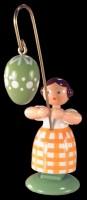 Vorschau: Ostermädchen von WEHA-Kunst mit grünem Osterei, 11 cm_Bild2