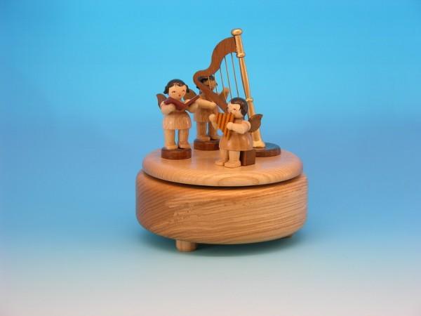 Spieluhr & Spieldose mit 3 Weihnachtsengel und einer Harfe, natur, 13,0 x 13,0 x 14,0 cm, Frieder & André Uhlig Seiffen/ Erzgebirge