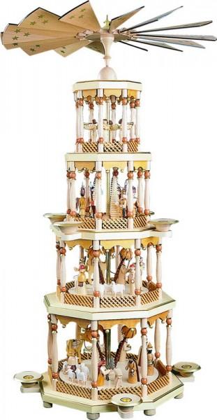 Weihnachtspyramide Christi Geburt, 4 - stöckig, 94 cm hoch, Richard Glässer GmbH Seiffen/ Erzgebirge