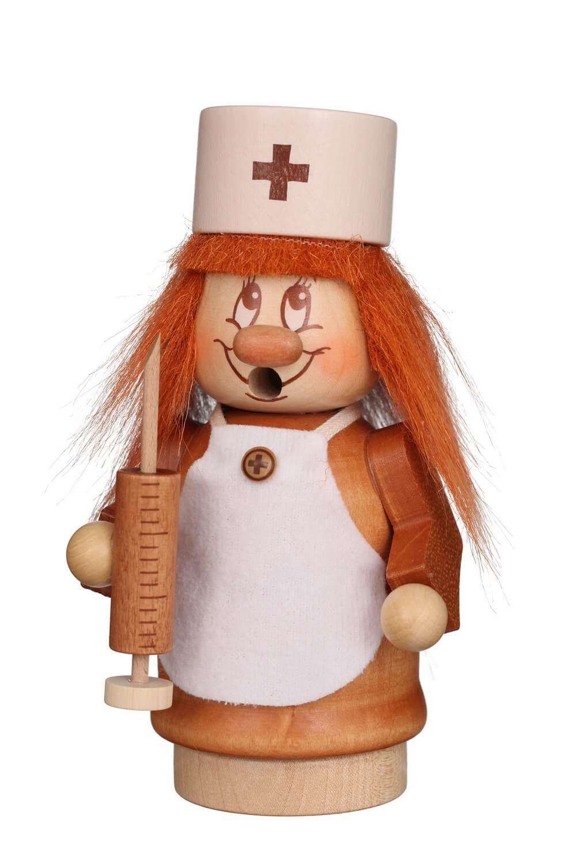 Räuchermännchen Miniwichtel Krankenschwester mit der typischen Knubbelnase und dem freundlichen Gesicht von Christian Ulbricht GmbH & Co KG Seiffen/ …