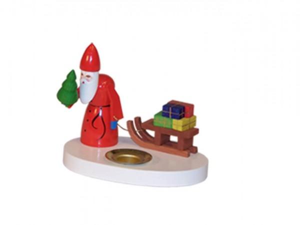 Kerzenhalter Weihnachtsmann mit Schlitten, farbig, 8 cm von Volker Zenker aus Seiffen