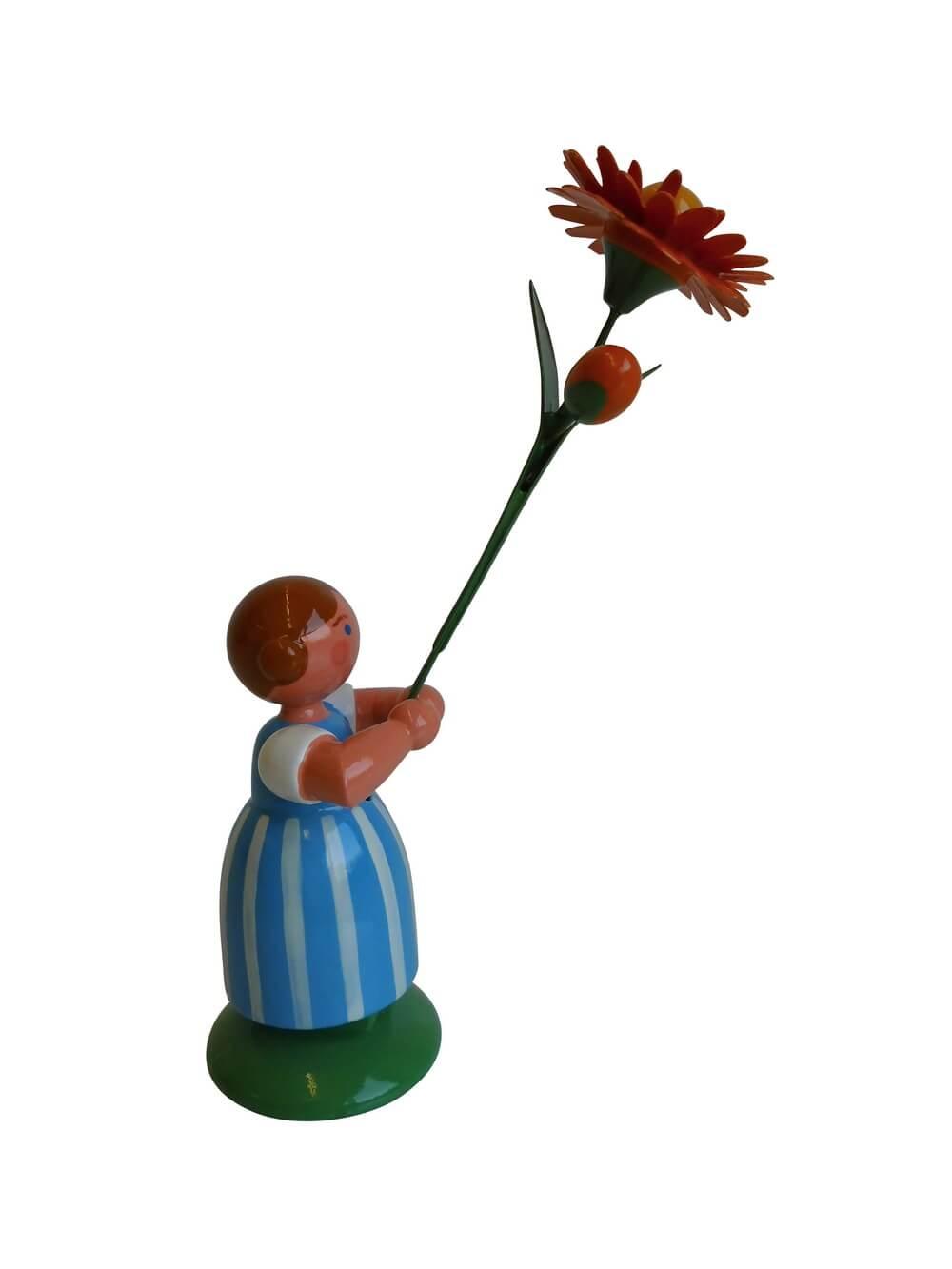 Blumenkinder - Feld- und Wiesenblumenmädchen mit Ringelblume, 11 cm von WEHA-Kunst Dippoldiswalde/ Erzgebirge