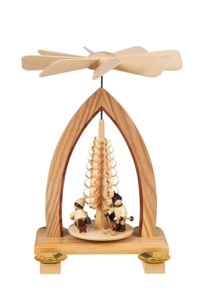 Weihnachtspyramide mit Winterkinder, natur, 26 cm hergestellt von Heinz Lorenz Olbernhau/ Erzgebirge_Bild1