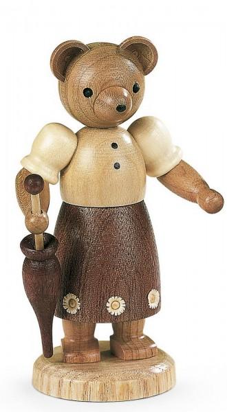 Dekofigur Bärenfrau aus Holz, naturfarben von Müller Kleinkunst aus Seiffen