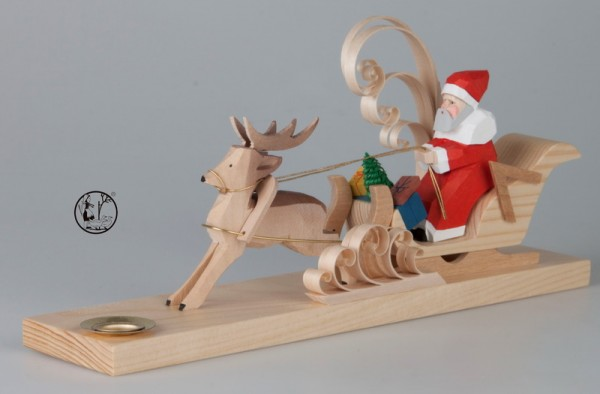 Weihnachtskerzenhalter, geschnitzter Weihnachtsmann auf Schlitten, 11 cm, Bettina Franke Deutschneudorf/ Erzgebirge
