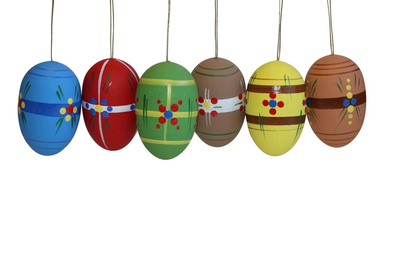 Ostereier, farbig, 6 Stück handbemalt, 5,3 cm von Nestler-Seiffen.com OHG Seiffen/ Erzgebirge