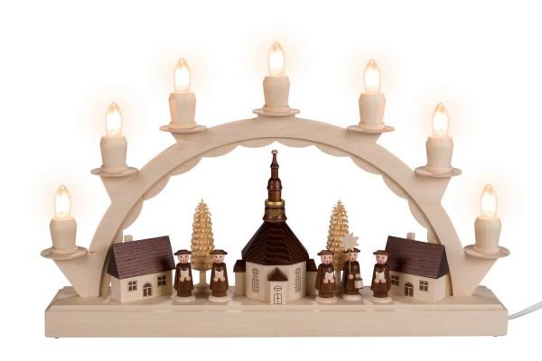 LED Schwibbogen von Nestler-Seiffen mit dem Motiv kleines Seiffener Dorf mit Kurrende_Bild1