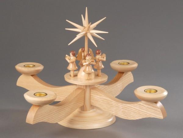 Adventsleuchter, natur - 4 stehende Engel, Adventsleuchter aus massivem Eschenholz, naturbelassen, 4 Engel mit Gesangbuch gedrechselt, in Handarbeit bemalt, …