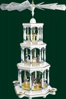 Vorschau: Weihnachtspyramide Christi Geburt 3 - stöckig, weiß, 76 cm hoch, Richard Glässer GmbH Seiffen/ Erzgebirge