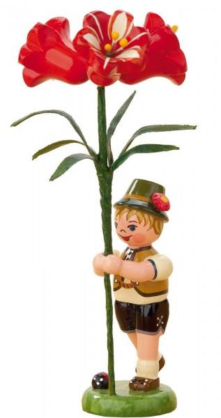 Blumenkinder - Blumenjunge mit Amarylis, 11 cm von Hubrig Volkskunst GmbH Zschorlau/ Erzgebirge