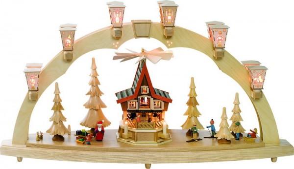 Schwibbogen Weihnachtswald mit Adventshaus, komplett elektrisch beleuchtet, 41 cm x 80 cm, Richard Glässer GmbH Seiffen/ Erzgebirge